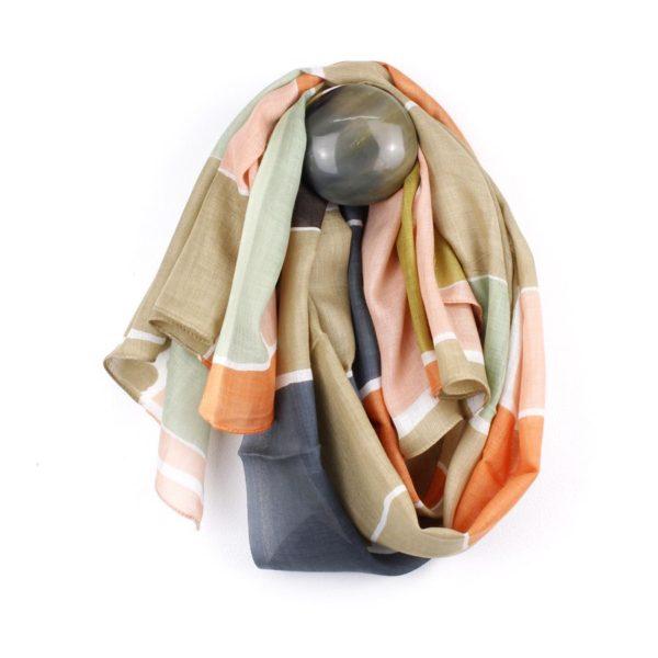 Peach,Taupe,Mustard Irregular Shape Print Scarf